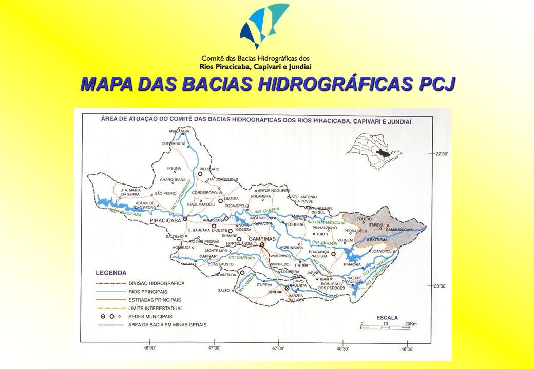 Características Gerais: 1) Nº de Municípios: 71 (57 c/ sede) paulistas e 5 (4 c/ sede) mineiros 2) Área total das Bacias PCJ: 15.320 Km 2 6,2% do ESP Piracicaba: 12.600 Km 2 11.320 (SP) + 1.280 (MG) 82,2% PCJ Capivari: 1.570 Km 2 10,2% PCJ Jundiaí: 1.150 Km 2 7,6% PCJ Cantareira: 1.967 Km 2 15,6% (Piracicaba) 12,8% (PCJ) Na bacia do Atibaia: 715 Km 2 25,3% (área total de 2.820 Km 2 ) Na bacia do Jaguari: 1.252 Km 2 29% (área total c/ Camanducaia: 4.320 Km 2 )