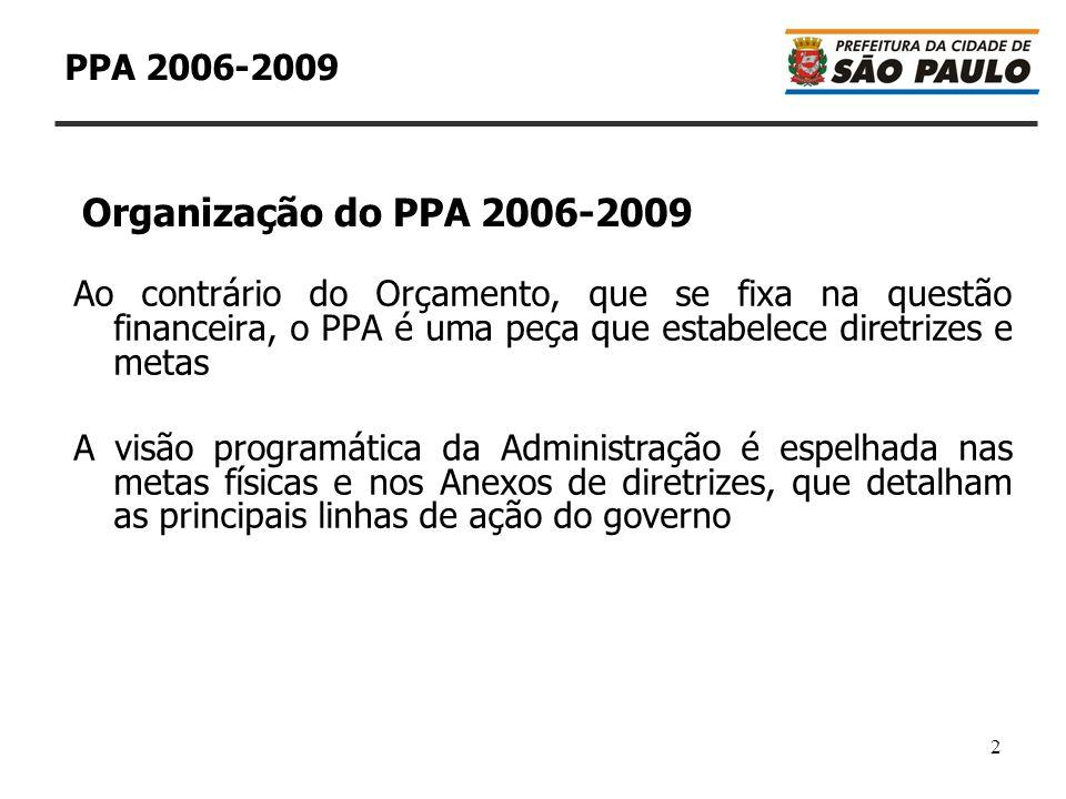 2 PPA 2006-2009 Ao contrário do Orçamento, que se fixa na questão financeira, o PPA é uma peça que estabelece diretrizes e metas A visão programática