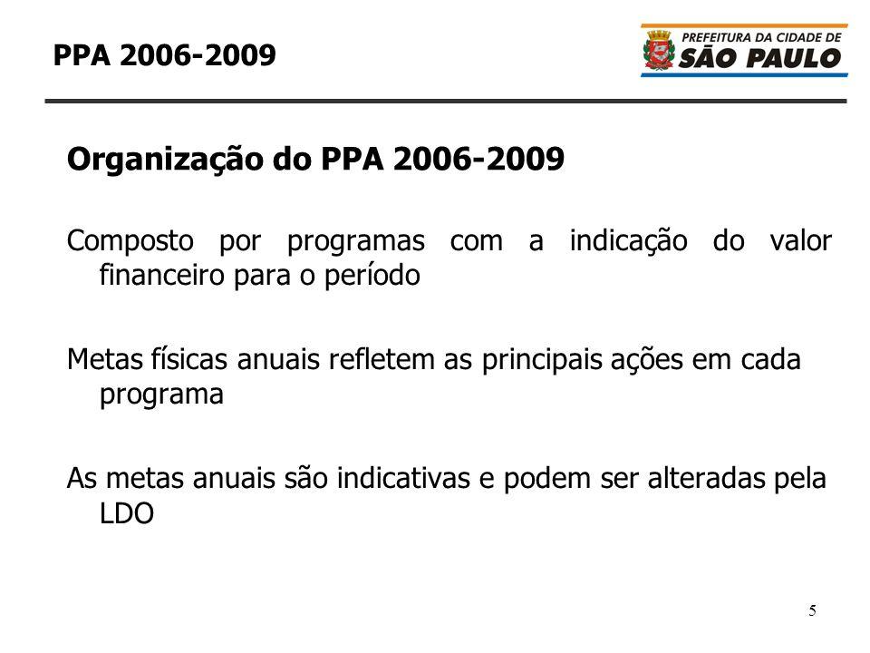 6 PPA 2006-2009 Os valores são apresentados a preços constantes de 2006 A evolução da situação financeira da Prefeitura de São Paulo pode implicar em alteração dos valores dos programas, que são referência e não se constituem em limites ou tetos A LDO e a LOA têm a responsabilidade de escalonar os valores financeiros durante o período do plano Organização do PPA 2006-2009