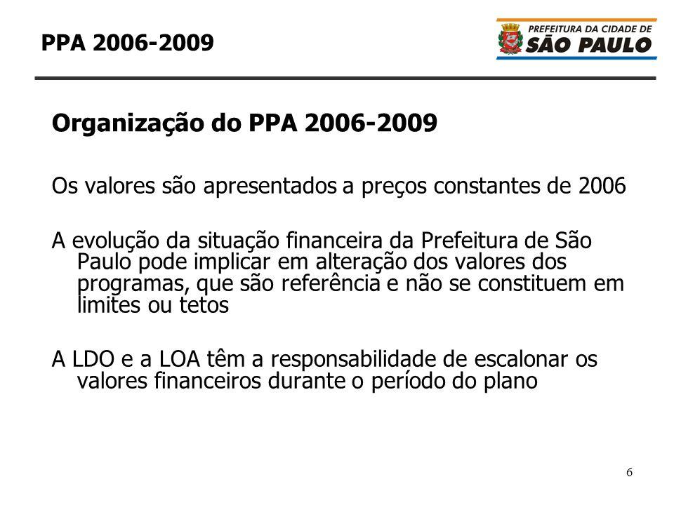 6 PPA 2006-2009 Os valores são apresentados a preços constantes de 2006 A evolução da situação financeira da Prefeitura de São Paulo pode implicar em