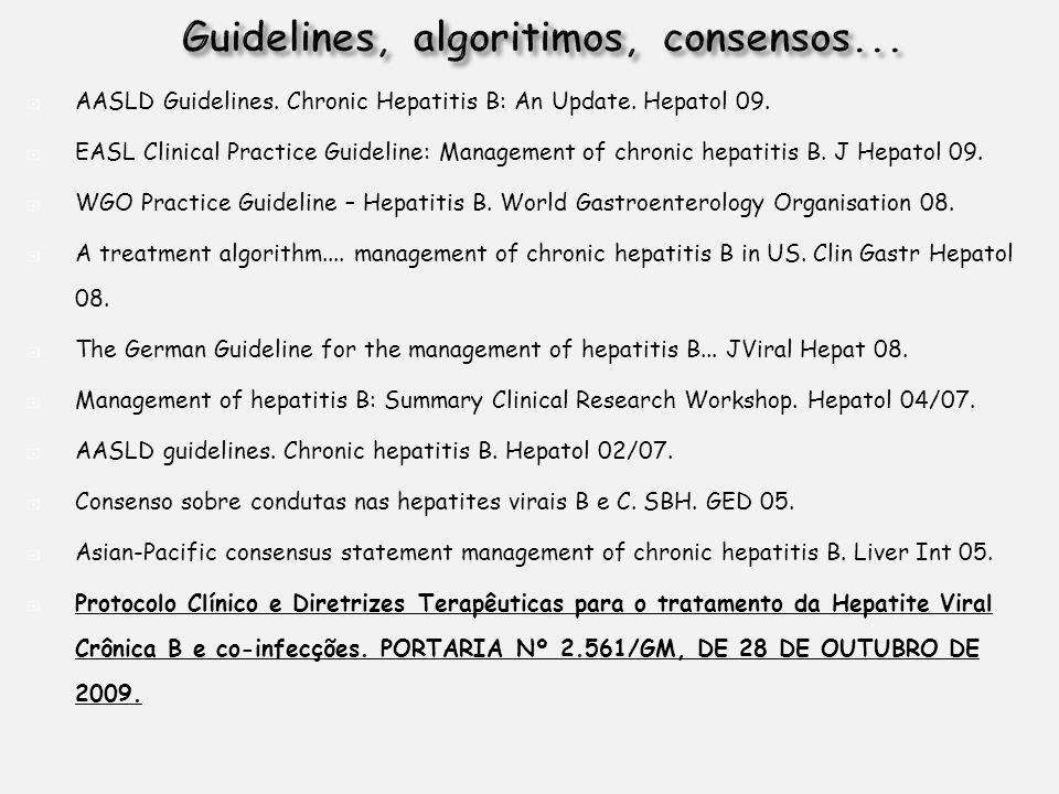 AASLD Guidelines. Chronic Hepatitis B: An Update. Hepatol 09. EASL Clinical Practice Guideline: Management of chronic hepatitis B. J Hepatol 09. WGO P