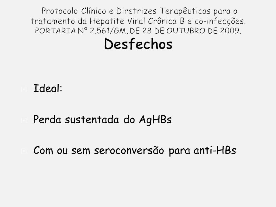 Ideal: Perda sustentada do AgHBs Com ou sem seroconversão para anti-HBs