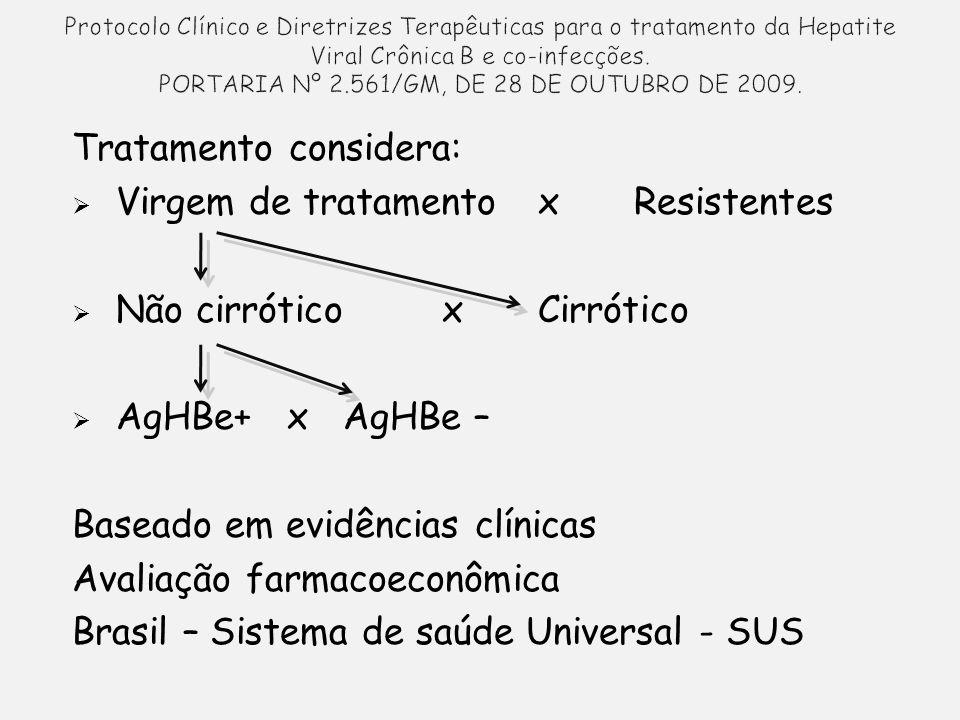 Tratamento considera: Virgem de tratamentox Resistentes Não cirróticox Cirrótico AgHBe+ x AgHBe – Baseado em evidências clínicas Avaliação farmacoeconômica Brasil – Sistema de saúde Universal - SUS