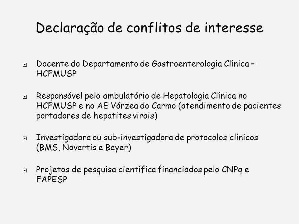 Declaração de conflitos de interesse Docente do Departamento de Gastroenterologia Clínica – HCFMUSP Responsável pelo ambulatório de Hepatologia Clínica no HCFMUSP e no AE Várzea do Carmo (atendimento de pacientes portadores de hepatites virais) Investigadora ou sub-investigadora de protocolos clínicos (BMS, Novartis e Bayer) Projetos de pesquisa científica financiados pelo CNPq e FAPESP