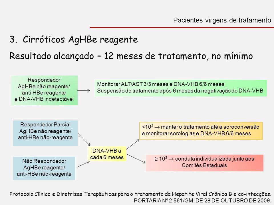 3. Cirróticos AgHBe reagente Resultado alcançado – 12 meses de tratamento, no mínimo Pacientes virgens de tratamento Protocolo Clínico e Diretrizes Te