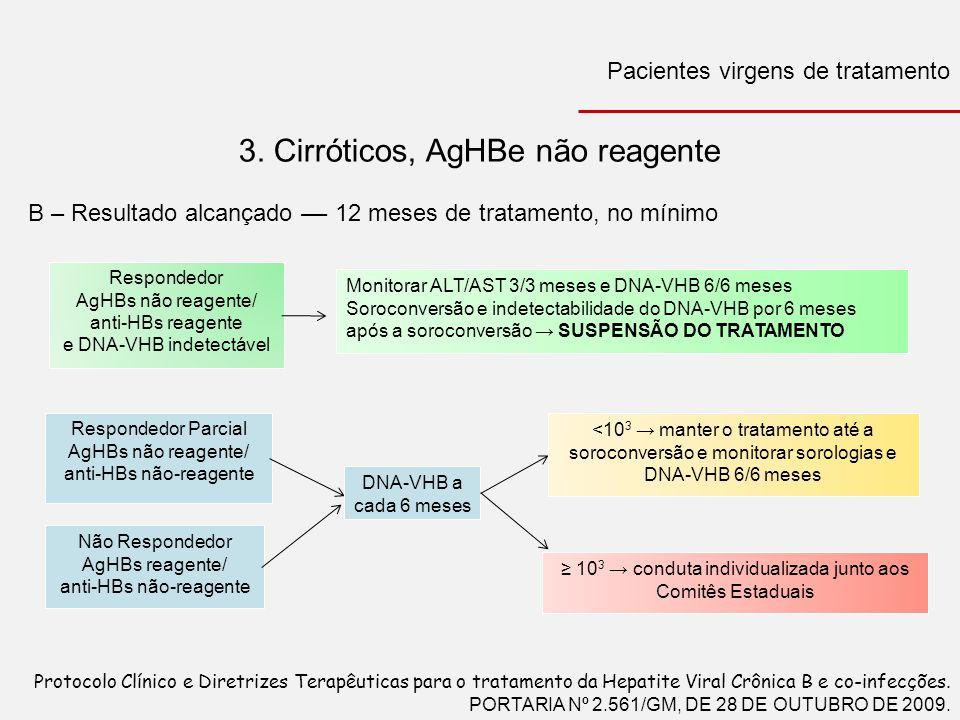 3. Cirróticos, AgHBe não reagente B – Resultado alcançado –– 12 meses de tratamento, no mínimo Respondedor AgHBs não reagente/ anti-HBs reagente e DNA