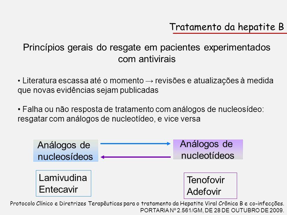 Tratamento da hepatite B Princípios gerais do resgate em pacientes experimentados com antivirais Literatura escassa até o momento revisões e atualizaç