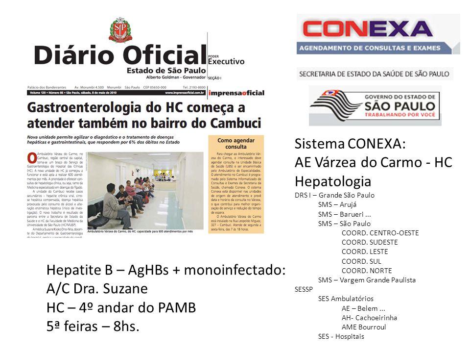 Sistema CONEXA: AE Várzea do Carmo - HC Hepatologia DRS I – Grande São Paulo SMS – Arujá SMS – Barueri...