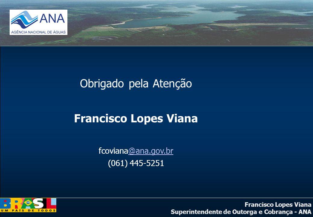 Francisco Lopes Viana Superintendente de Outorga e Cobrança - ANA Obrigado pela Atenção Francisco Lopes Viana fcoviana@ana.gov.br@ana.gov.br (061) 445-5251