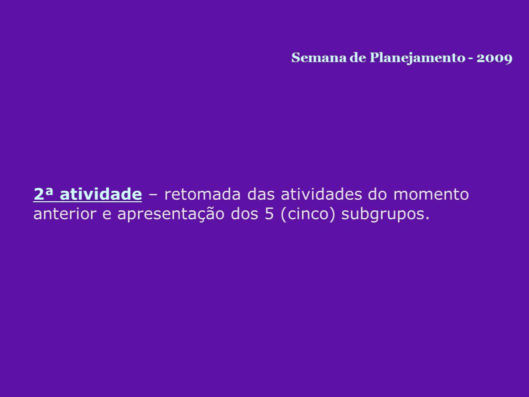 2ª atividade – retomada das atividades do momento anterior e apresentação dos 5 (cinco) subgrupos.