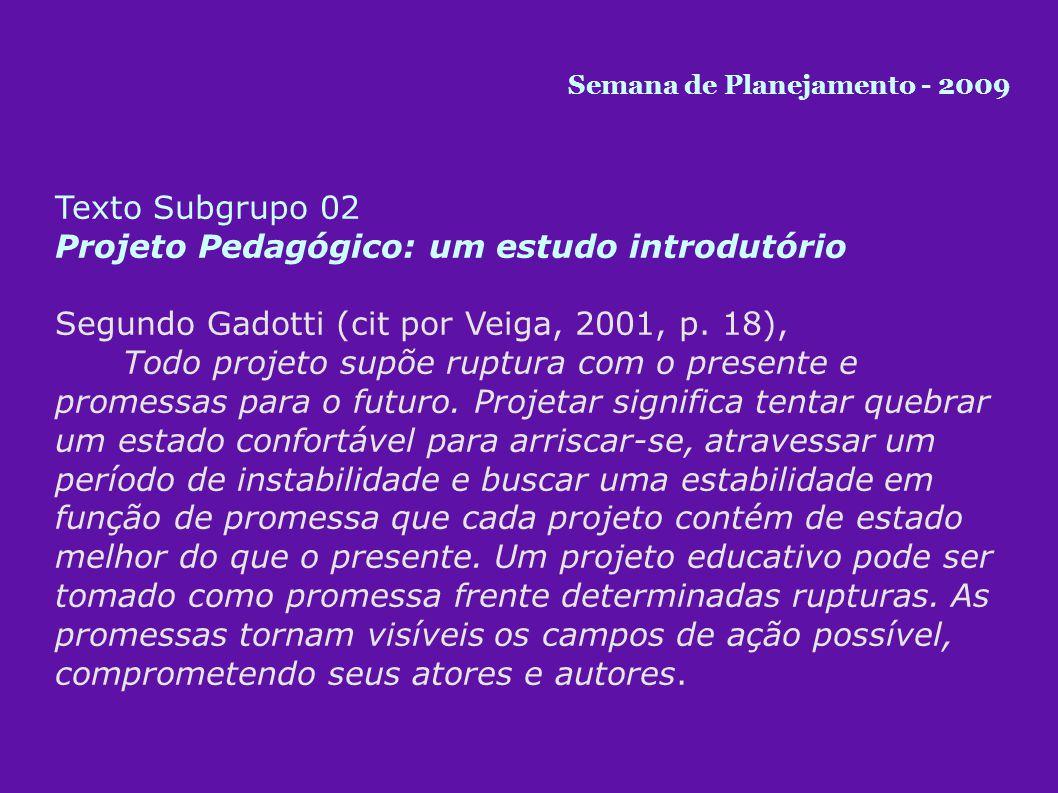 Texto Subgrupo 03 Projeto Pedagógico: um estudo introdutório Para André (2001, p.