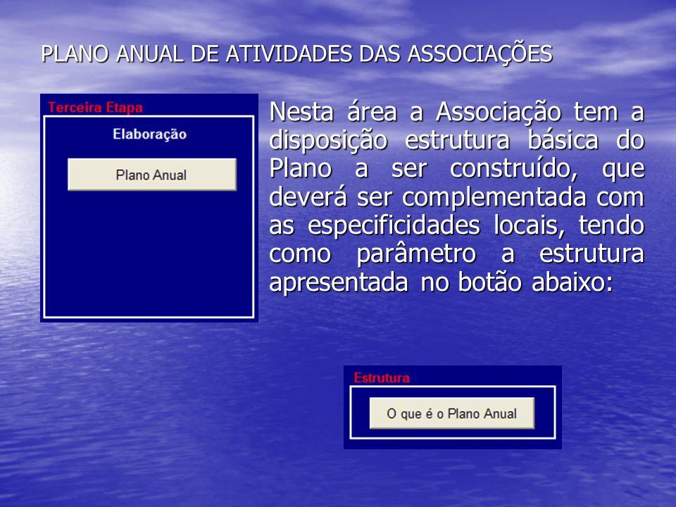 PLANO ANUAL DE ATIVIDADES DAS ASSOCIAÇÕES Nesta área a Associação tem a disposição estrutura básica do Plano a ser construído, que deverá ser compleme