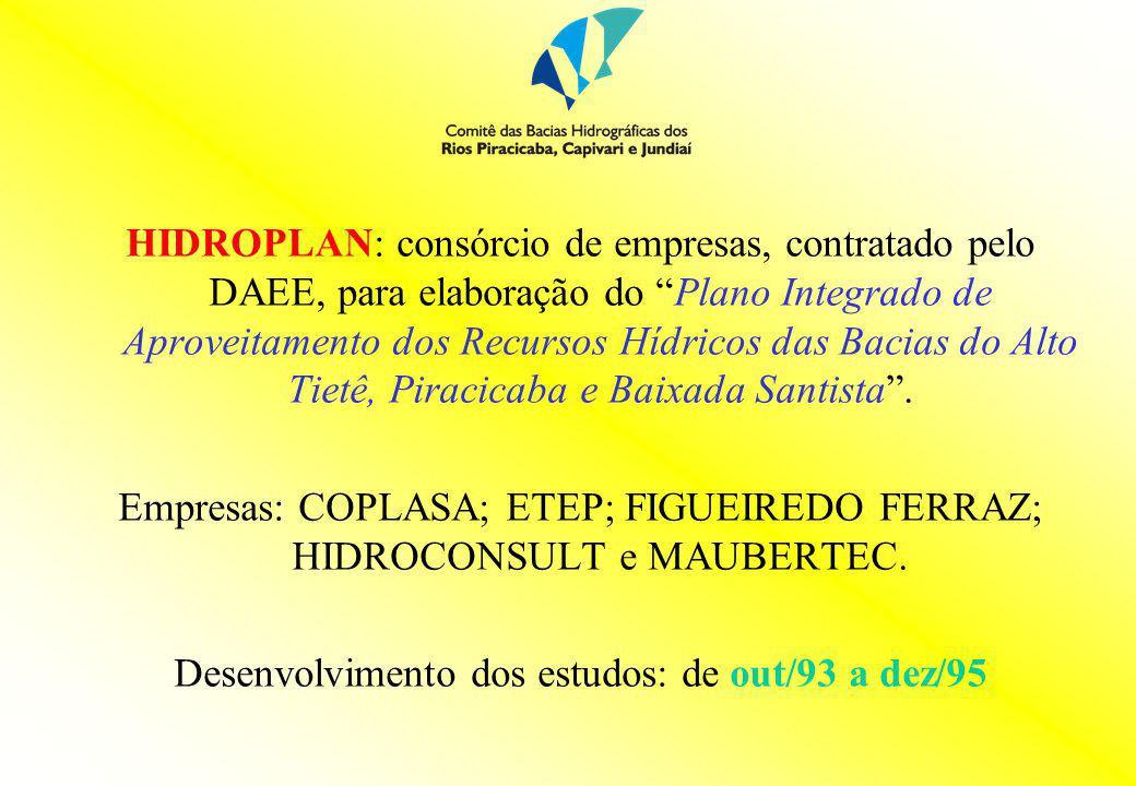 HIDROPLAN: consórcio de empresas, contratado pelo DAEE, para elaboração do Plano Integrado de Aproveitamento dos Recursos Hídricos das Bacias do Alto