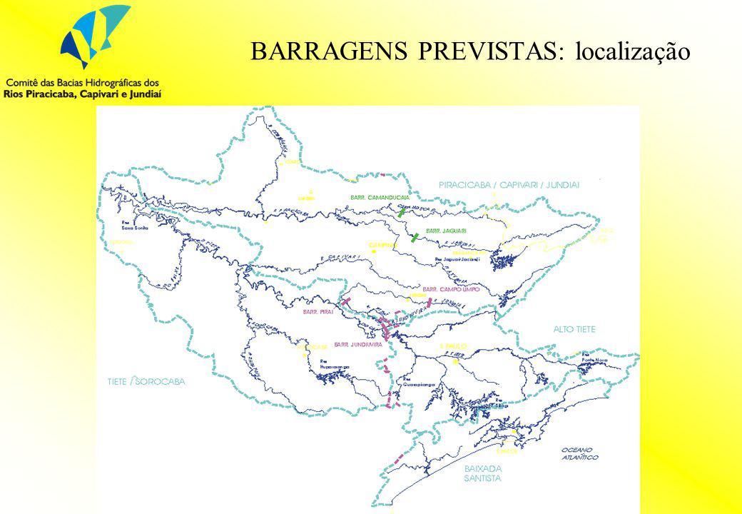 BARRAGENS PREVISTAS: localização