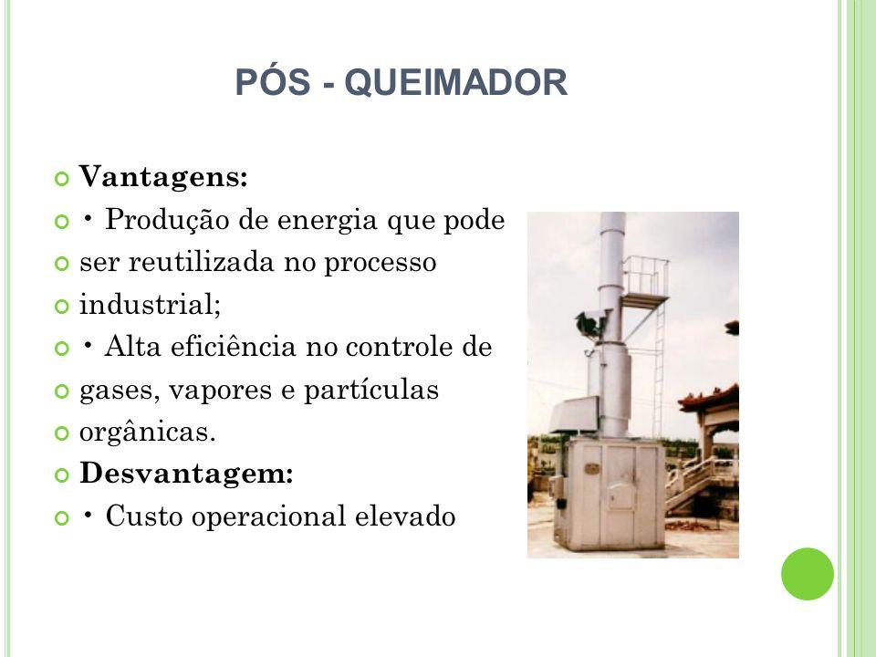 PÓS - QUEIMADOR Vantagens: Produção de energia que pode ser reutilizada no processo industrial; Alta eficiência no controle de gases, vapores e partíc