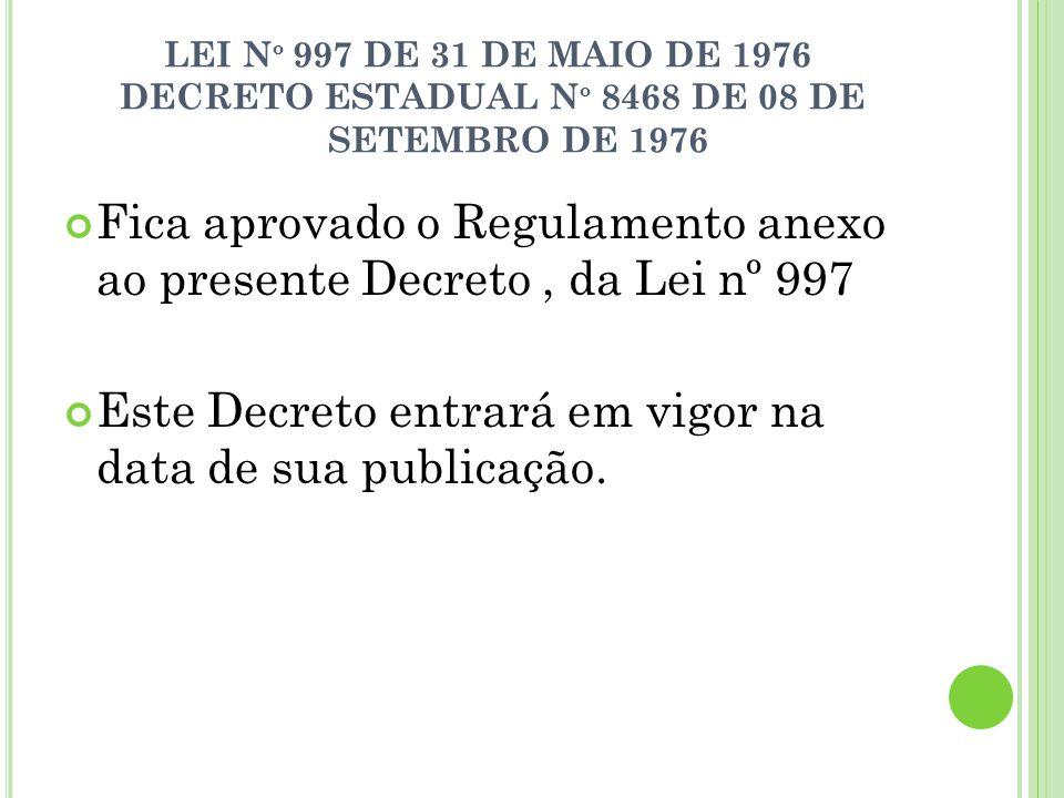 - LEI N º 997 DE 31 DE MAIO DE 1976 DECRETO ESTADUAL N º 8468 DE 08 DE SETEMBRO DE 1976 Fica aprovado o Regulamento anexo ao presente Decreto, da Lei