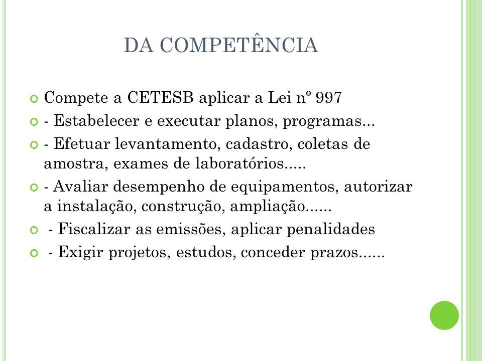 DA COMPETÊNCIA Compete a CETESB aplicar a Lei nº 997 - Estabelecer e executar planos, programas... - Efetuar levantamento, cadastro, coletas de amostr