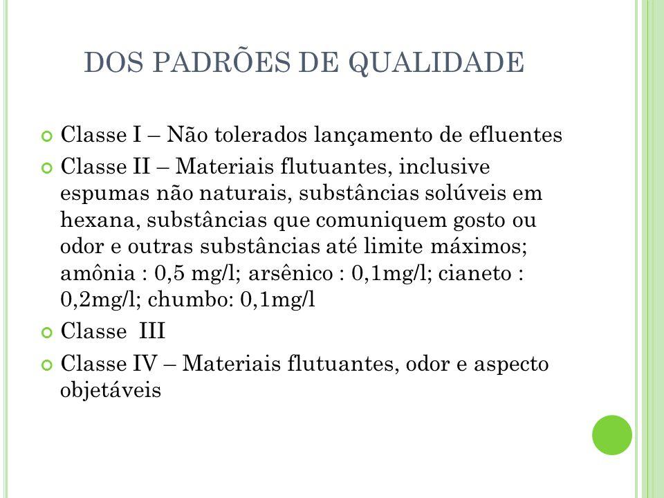 DOS PADRÕES DE QUALIDADE Classe I – Não tolerados lançamento de efluentes Classe II – Materiais flutuantes, inclusive espumas não naturais, substância