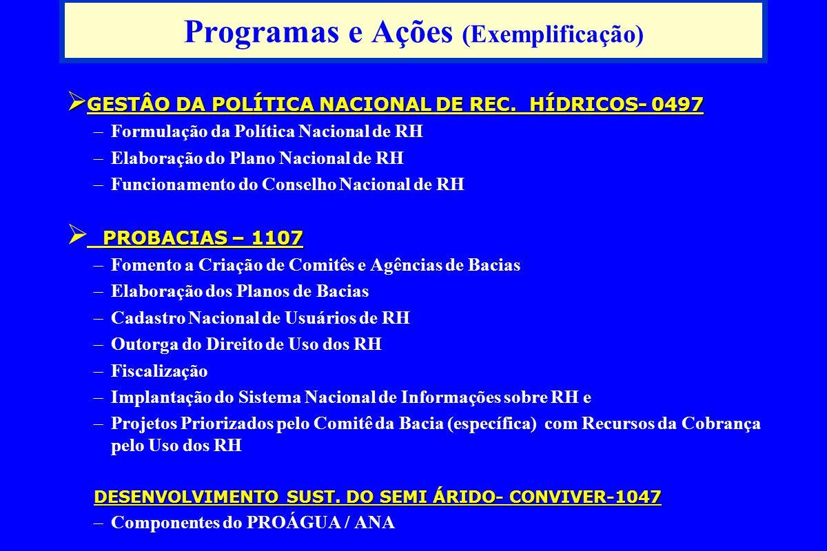 Programas e Ações (Exemplificação) GESTÂO DA POLÍTICA NACIONAL DE REC.