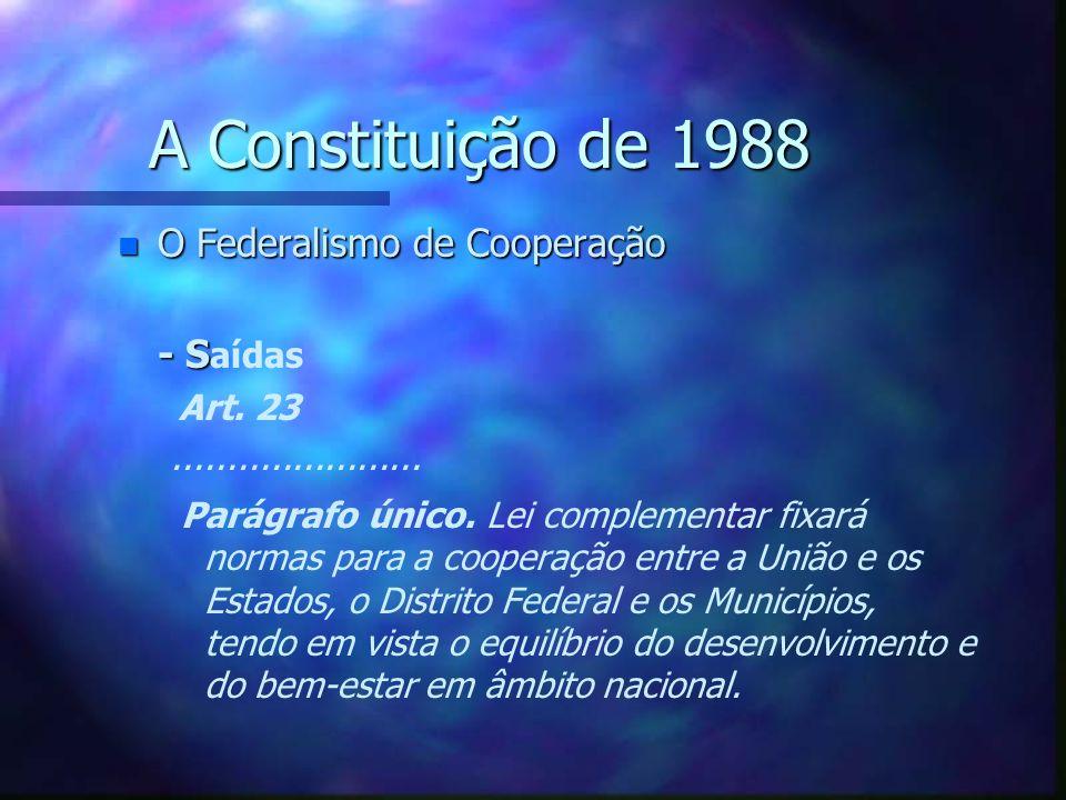 A Constituição de 1988 n O Federalismo de Cooperação Parêntesis: No que se refere ao domínio, a CF não está a precisar, no mínimo, de uma revisão de redação que aclare o sentido dos artigos 20,III e 26,I.