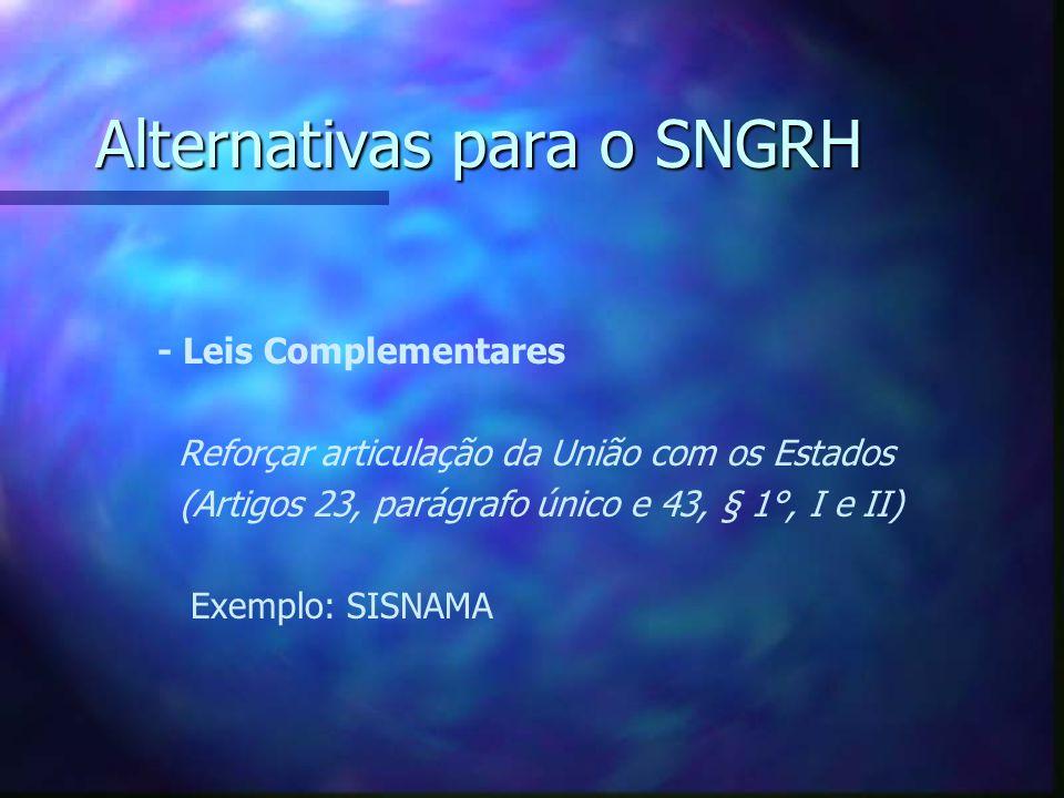 Alternativas para o SNGRH Aprimorar o Federalismo de Cooperação Aprimorar o Federalismo de Cooperação - Experiências exitosas e lições aprendidas Reforçar papel dos municípios Exemplo: Projeto de Lei sobre Consórcios Públicos