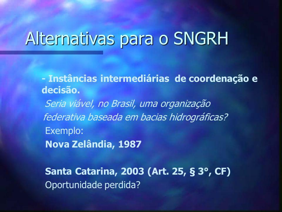 Alternativas para o SNGRH - Leis Complementares Reforçar articulação da União com os Estados (Artigos 23, parágrafo único e 43, § 1°, I e II) Exemplo: SISNAMA