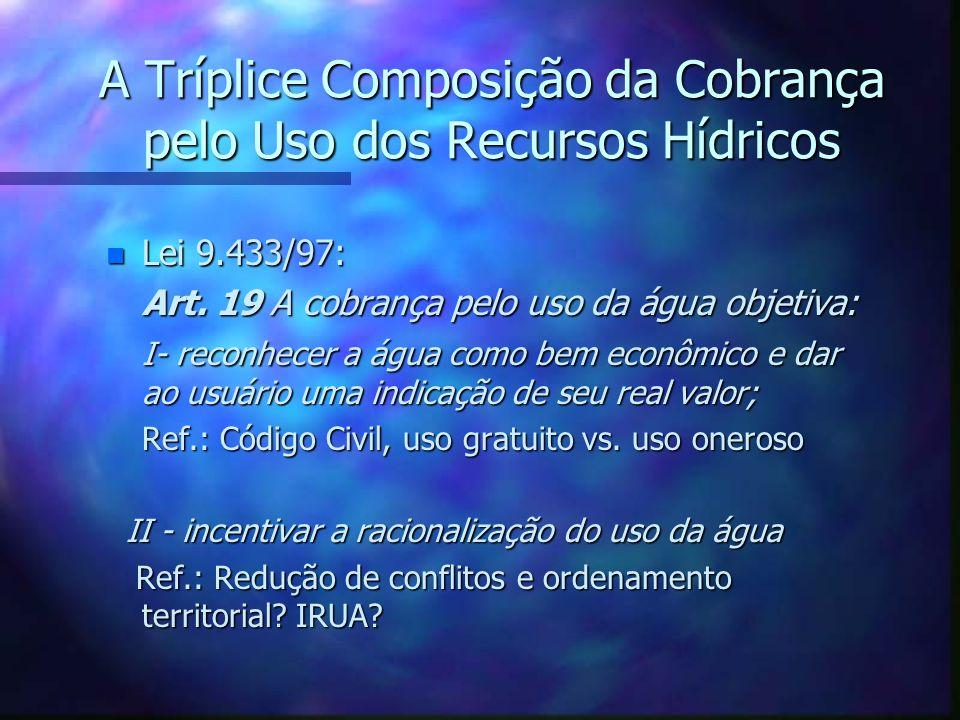 Alternativas para o SNGRH - Mecanismos racionais de distribuição da receita da cobrança Análise da composição e natureza jurídica da Cobrança Exemplo: Colômbia África do Sul