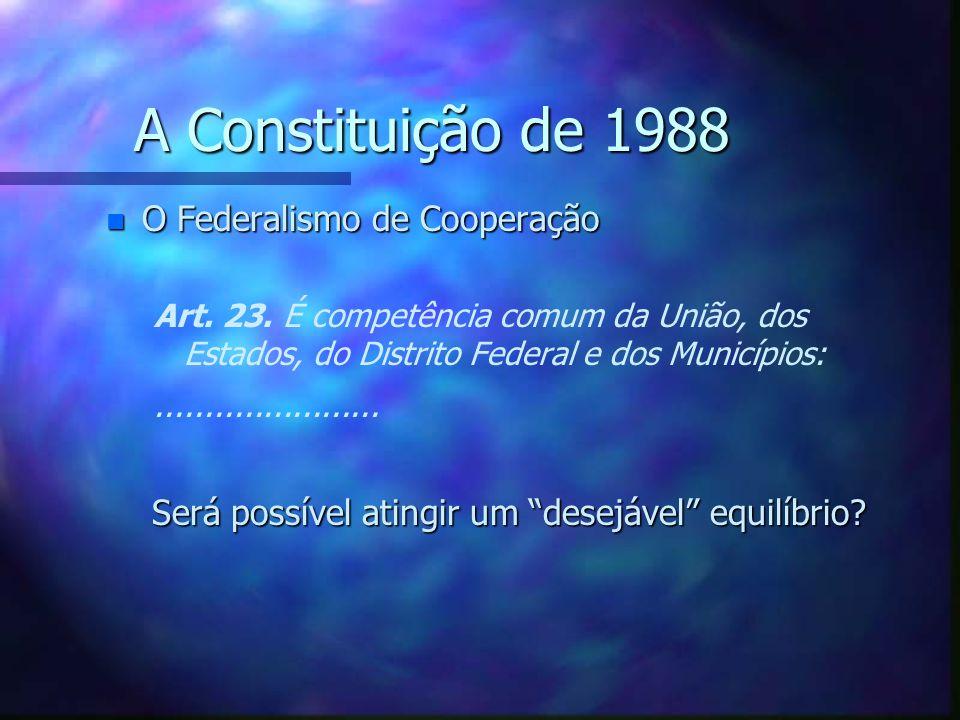 A Constituição de 1988 n A Cláusula Pétrea - - Art.