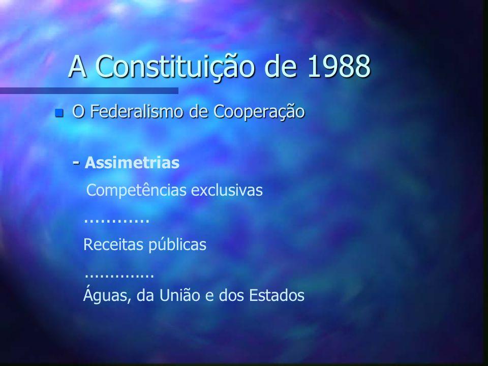 A Constituição de 1988 n O Federalismo de Cooperação - - Subsidiariedade Art.