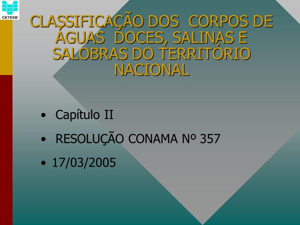 CLASSIFICAÇÃO DOS CORPOS DE ÁGUAS DOCES, SALINAS E SALOBRAS DO TERRITÓRIO NACIONAL Capítulo II RESOLUÇÃO CONAMA Nº 357 17/03/2005