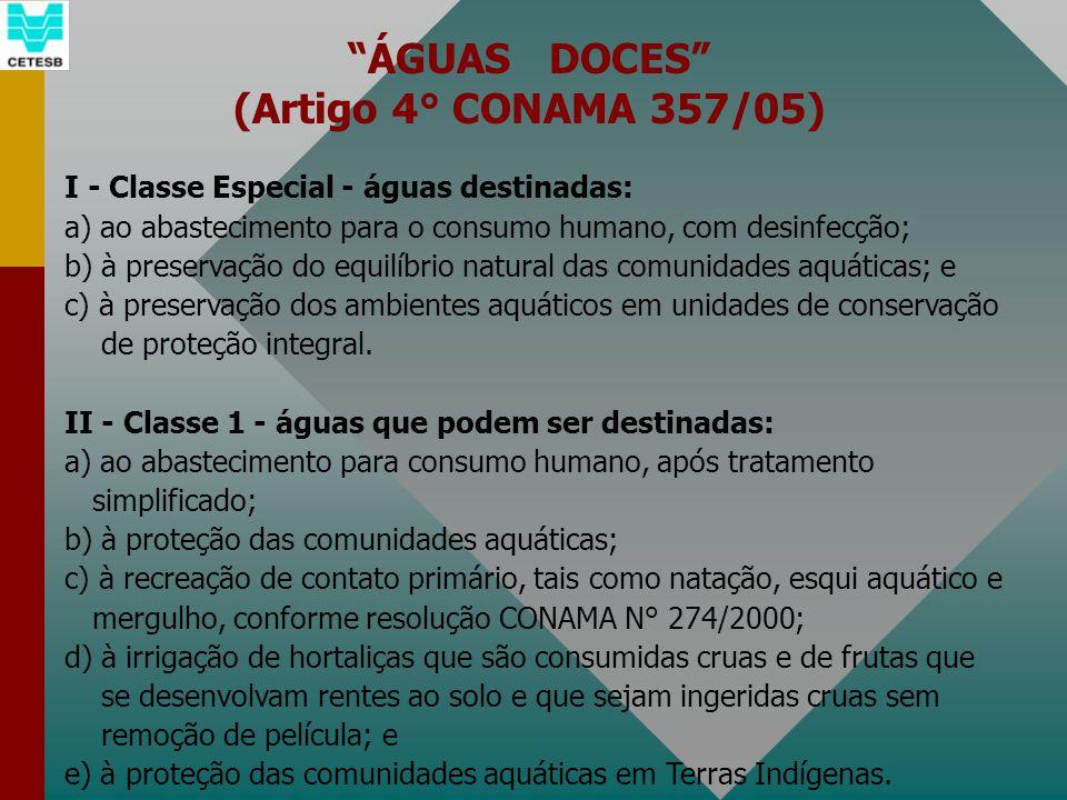 ÁGUAS DOCES (Artigo 4° CONAMA 357/05) I - Classe Especial - águas destinadas: a) ao abastecimento para o consumo humano, com desinfecção; b) à preserv