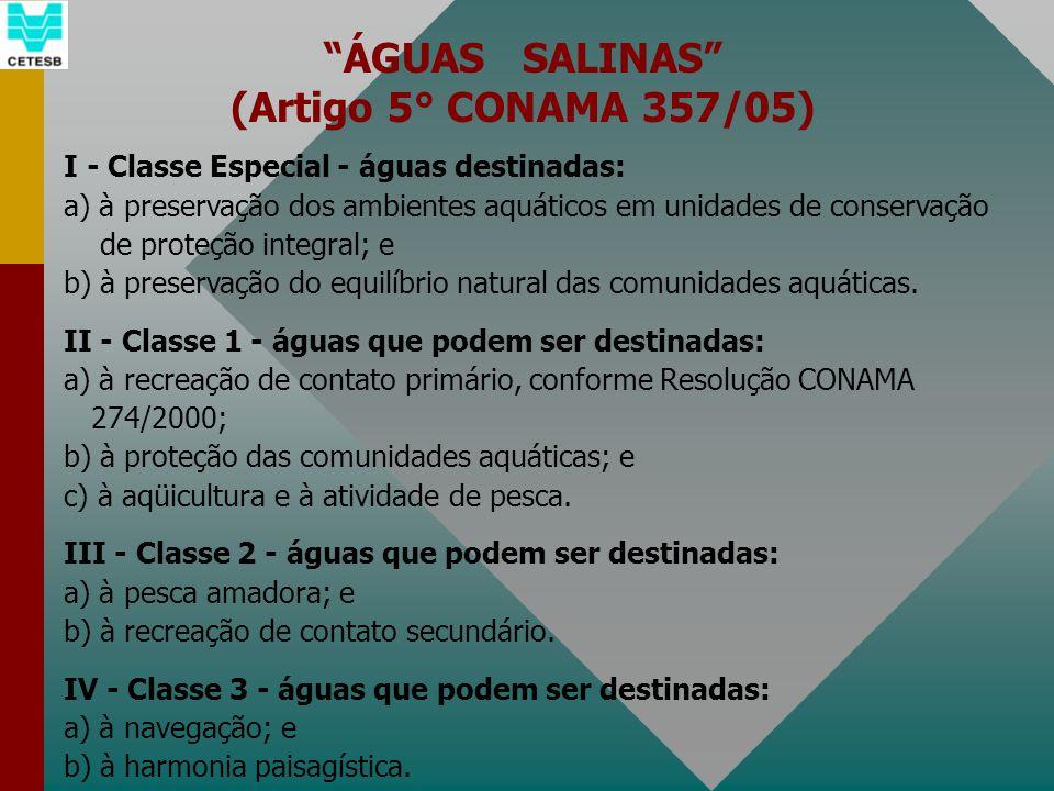 ÁGUAS SALINAS (Artigo 5° CONAMA 357/05) I - Classe Especial - águas destinadas: a) à preservação dos ambientes aquáticos em unidades de conservação de