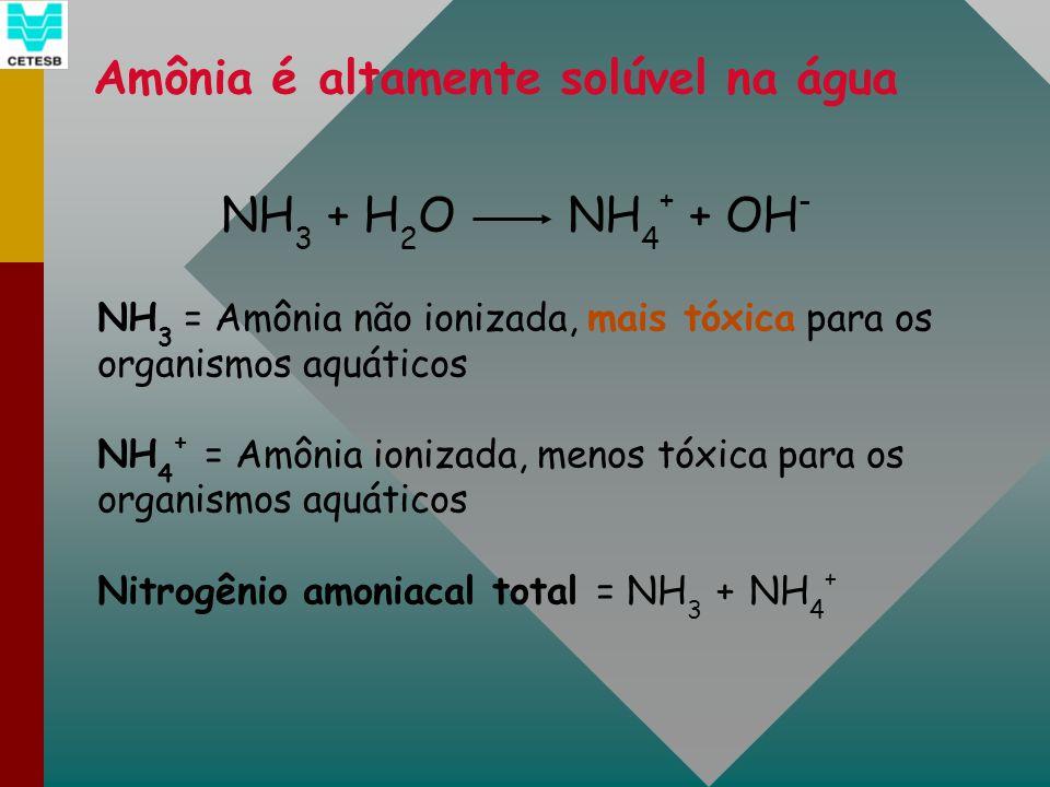 Amônia é altamente solúvel na água NH 3 + H 2 O NH 4 + + OH - NH 3 = Amônia não ionizada, mais tóxica para os organismos aquáticos NH 4 + = Amônia ion