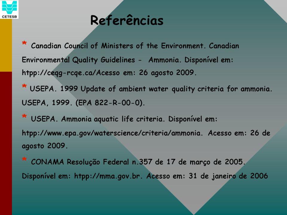 Referências * Canadian Council of Ministers of the Environment. Canadian Environmental Quality Guidelines - Ammonia. Disponível em: htpp://ceqg-rcqe.c