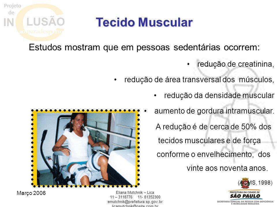Março 2006 Eliana Mutchnik – Lica 11 – 311877611- 81352300 emutchnik@prefeitura.sp.gov.br licamutchnik@osite.com.br Tecido Muscular Estudos mostram qu