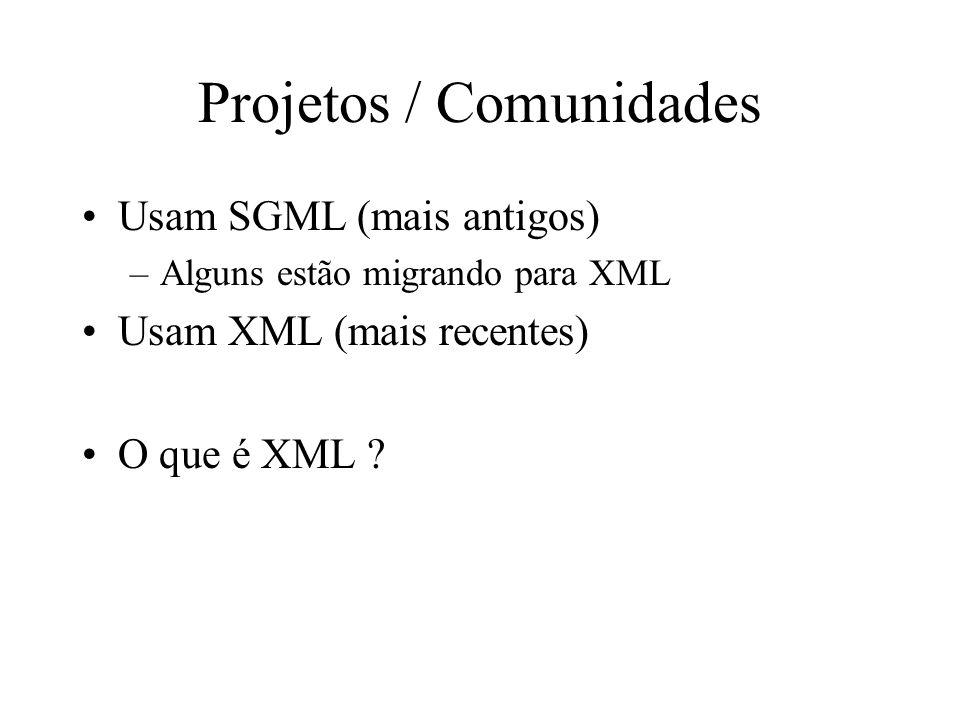 Projetos / Comunidades Usam SGML (mais antigos) –Alguns estão migrando para XML Usam XML (mais recentes) O que é XML ?