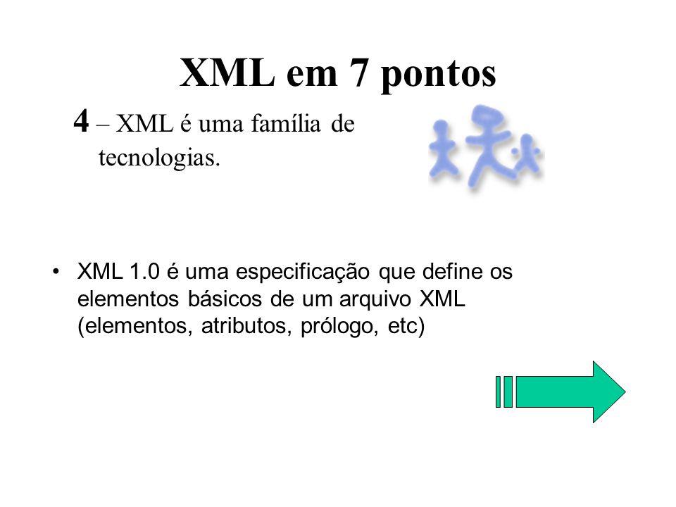 XML em 7 pontos 4 – XML é uma família de tecnologias. XML 1.0 é uma especificação que define os elementos básicos de um arquivo XML (elementos, atribu