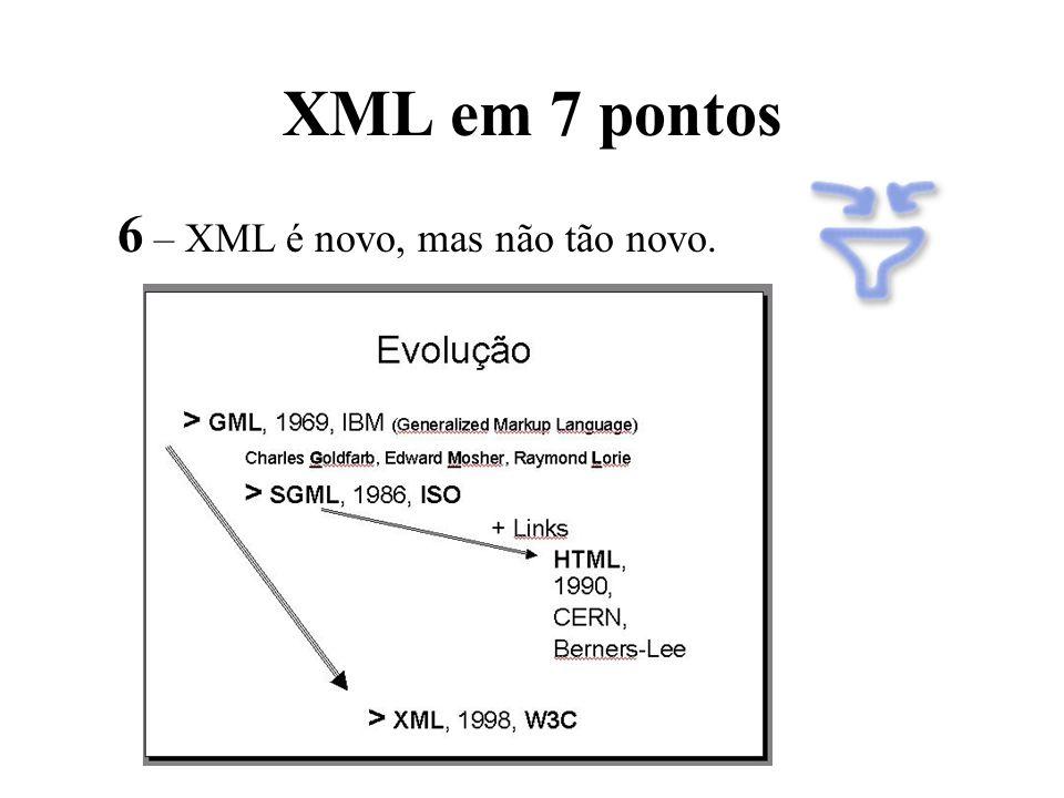 XML em 7 pontos 6 – XML é novo, mas não tão novo.
