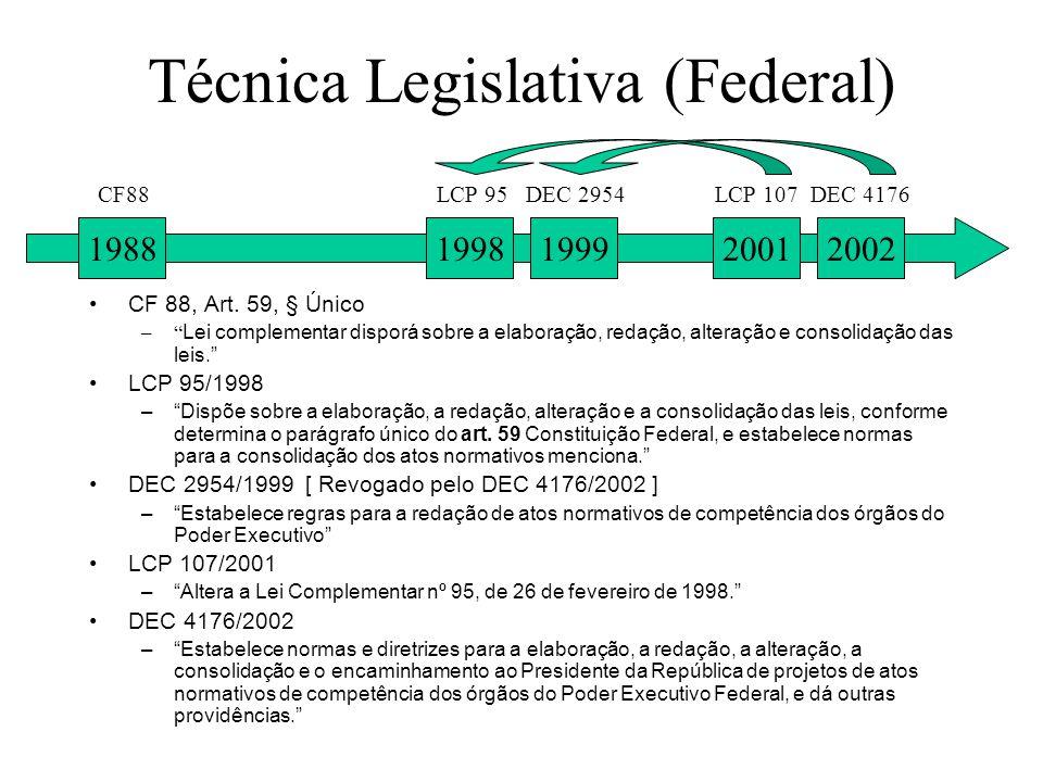 Técnica Legislativa (Federal) CF 88, Art. 59, § Único – Lei complementar disporá sobre a elaboração, redação, alteração e consolidação das leis. LCP 9
