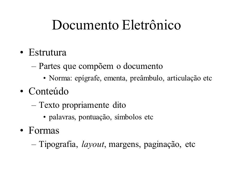 Documento Eletrônico Estrutura –Partes que compõem o documento Norma: epígrafe, ementa, preâmbulo, articulação etc Conteúdo –Texto propriamente dito p
