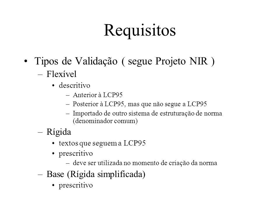 Requisitos Tipos de Validação ( segue Projeto NIR ) –Flexível descritivo –Anterior à LCP95 –Posterior à LCP95, mas que não segue a LCP95 –Importado de