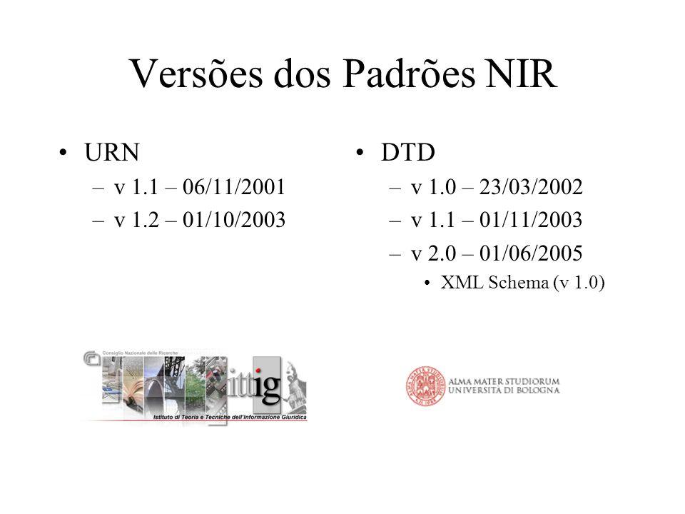 Versões dos Padrões NIR URN –v 1.1 – 06/11/2001 –v 1.2 – 01/10/2003 DTD –v 1.0 – 23/03/2002 –v 1.1 – 01/11/2003 –v 2.0 – 01/06/2005 XML Schema (v 1.0)