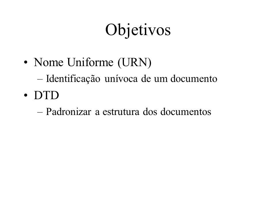 Objetivos Nome Uniforme (URN) –Identificação unívoca de um documento DTD –Padronizar a estrutura dos documentos