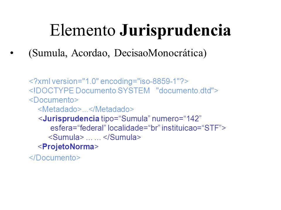 Elemento Jurisprudencia (Sumula, Acordao, DecisaoMonocrática).........