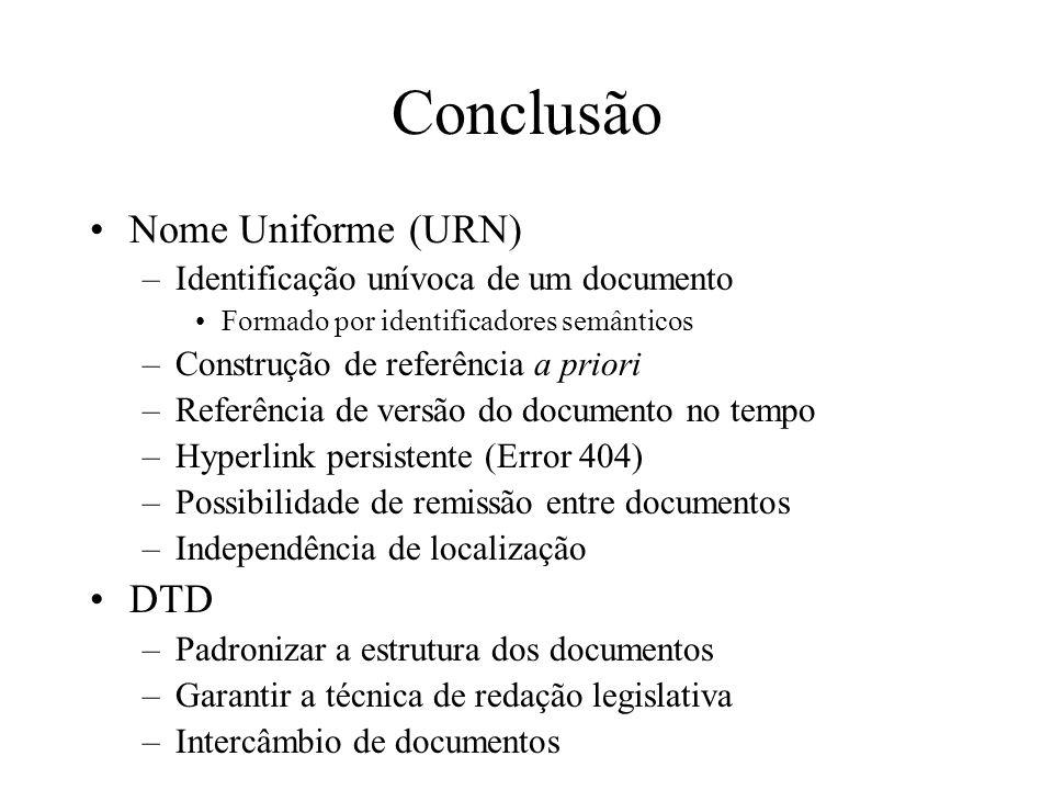Conclusão Nome Uniforme (URN) –Identificação unívoca de um documento Formado por identificadores semânticos –Construção de referência a priori –Referê