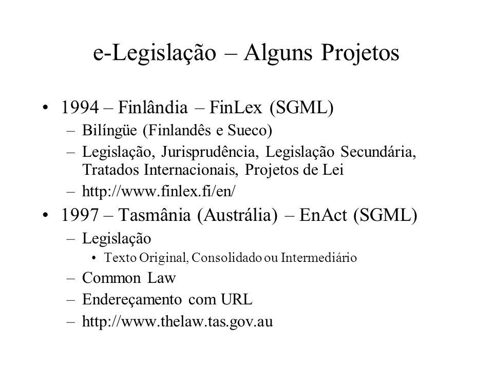 e-Legislação – Alguns Projetos 1994 – Finlândia – FinLex (SGML) –Bilíngüe (Finlandês e Sueco) –Legislação, Jurisprudência, Legislação Secundária, Trat