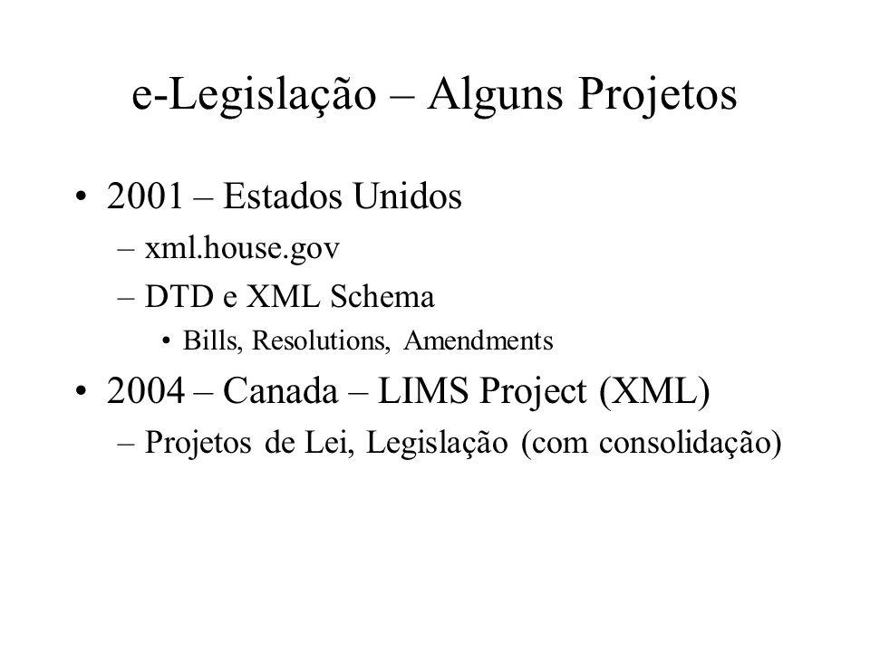 e-Legislação – Alguns Projetos 2001 – Estados Unidos –xml.house.gov –DTD e XML Schema Bills, Resolutions, Amendments 2004 – Canada – LIMS Project (XML