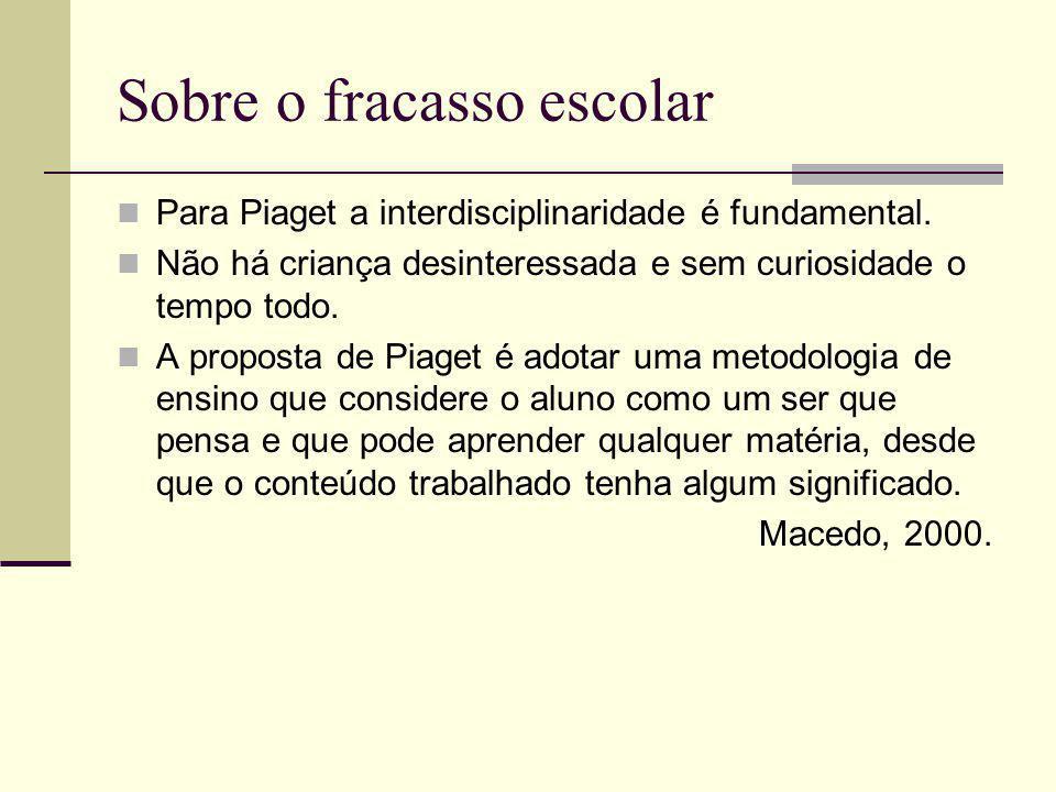 Sobre o fracasso escolar Para Piaget a interdisciplinaridade é fundamental.