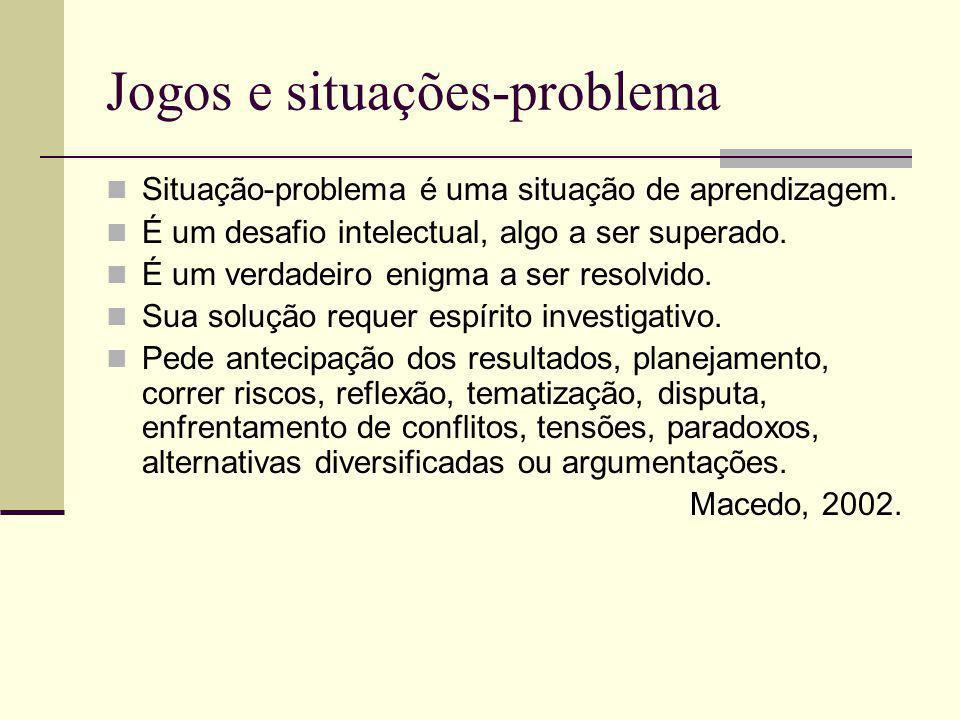 Jogos e situações-problema Situação-problema é uma situação de aprendizagem.