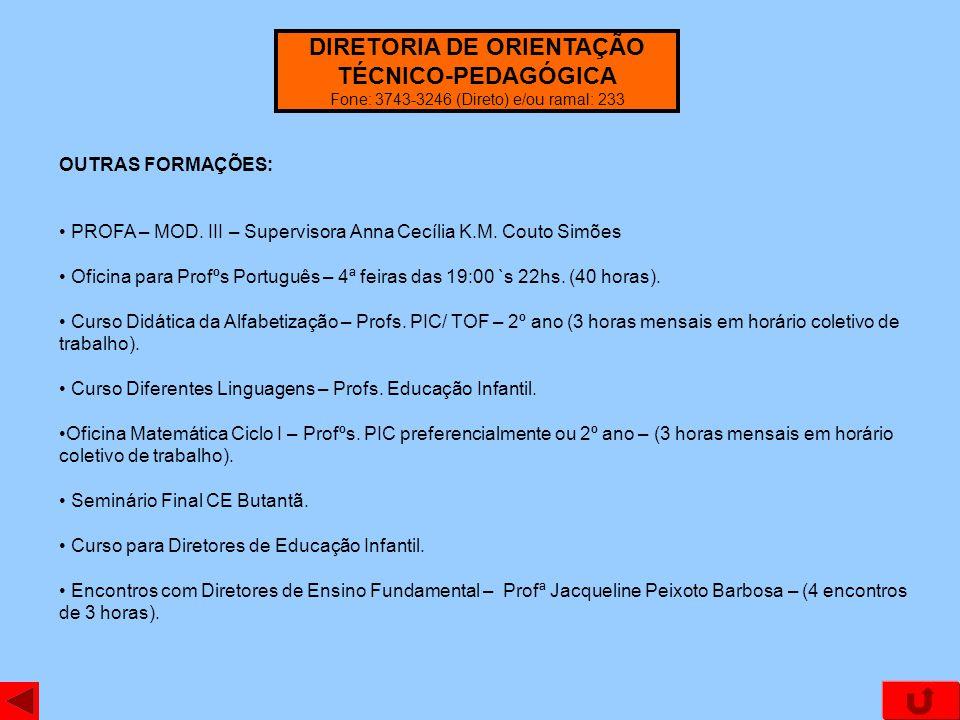 OUTRAS FORMAÇÕES: PROFA – MOD. III – Supervisora Anna Cecília K.M. Couto Simões Oficina para Profºs Português – 4ª feiras das 19:00 `s 22hs. (40 horas